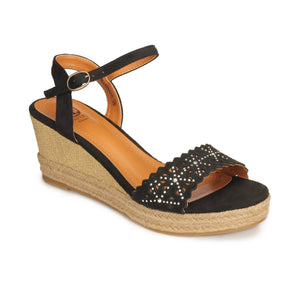 Gorgeous High Heel Wedges for Women - Black - Sandals - Pavers England