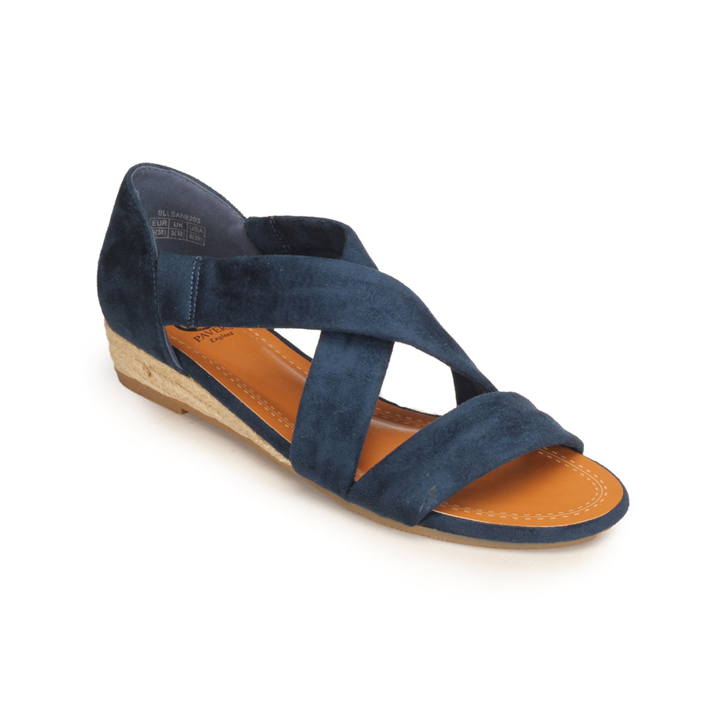 Low Heel Textile Sandals for Women - Navy - Sandals - Pavers England
