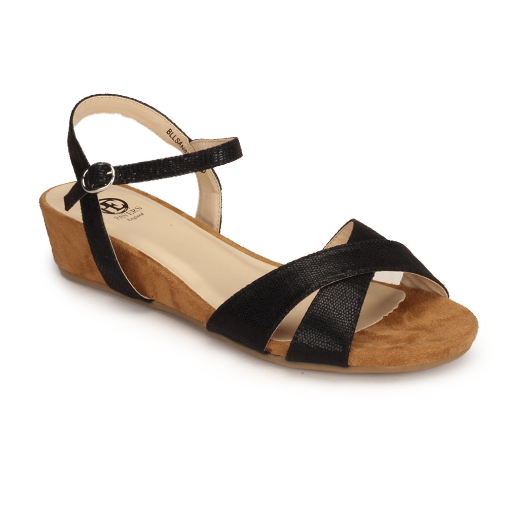 Textile Wedges with Medium Height for Women - Black - Sandals - Pavers England