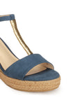 High Heel Textile Wedges for Women - Sandal - Pavers England