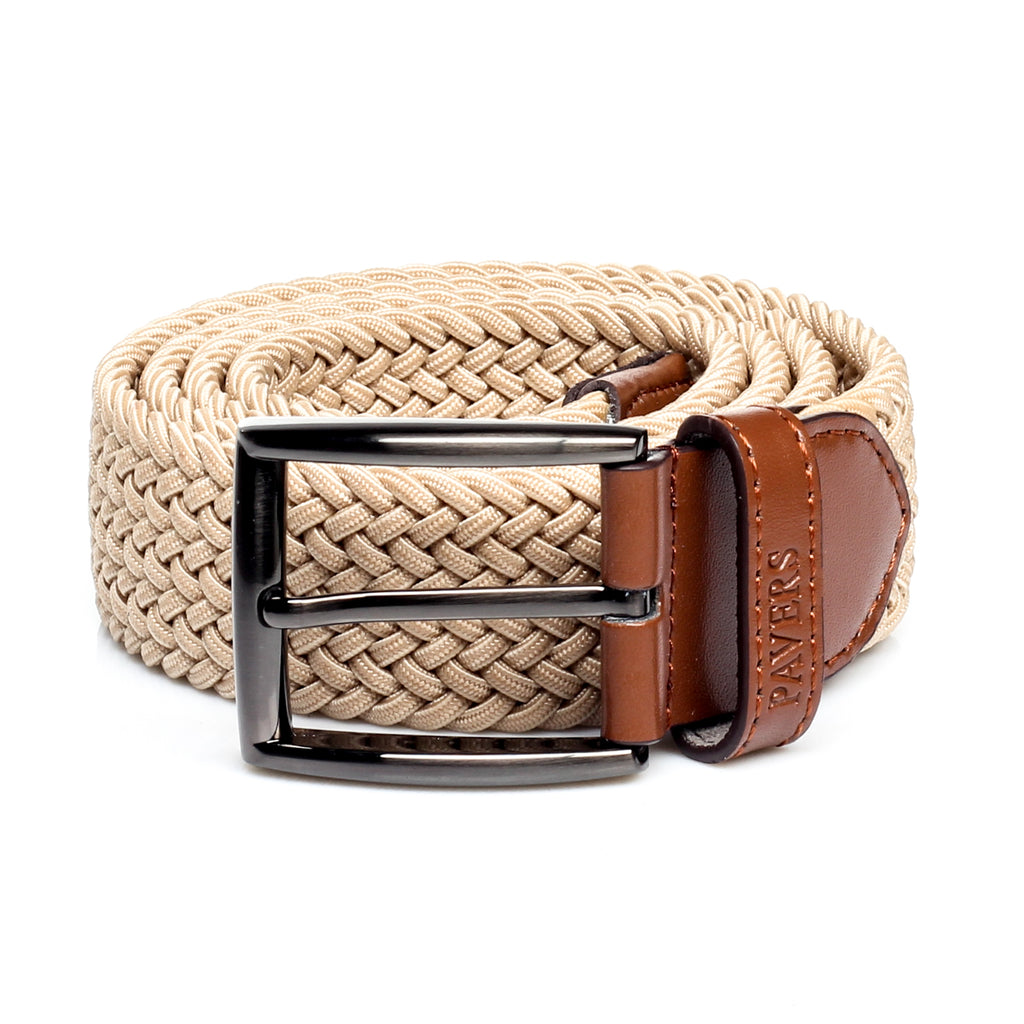 Men's Perforated Casual Belt - Beige - Bags & Accessories - Pavers England