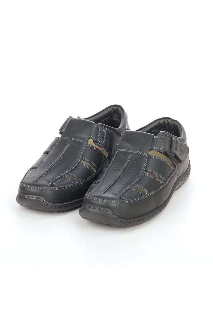 Men's leather sandals with Velcro fastening - Black - Sandals - Pavers England