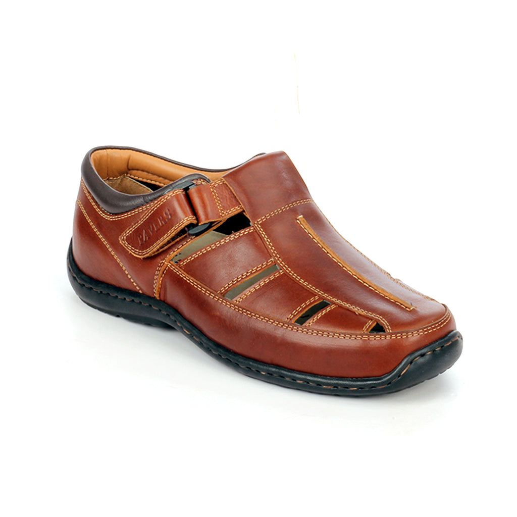 Men's leather sandals with Velcro fastening
