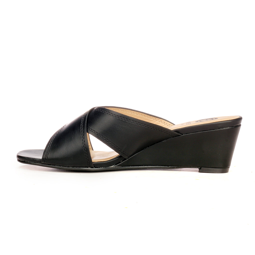 Casual Mule Wedges for Women - Black - Open Mules - Pavers England