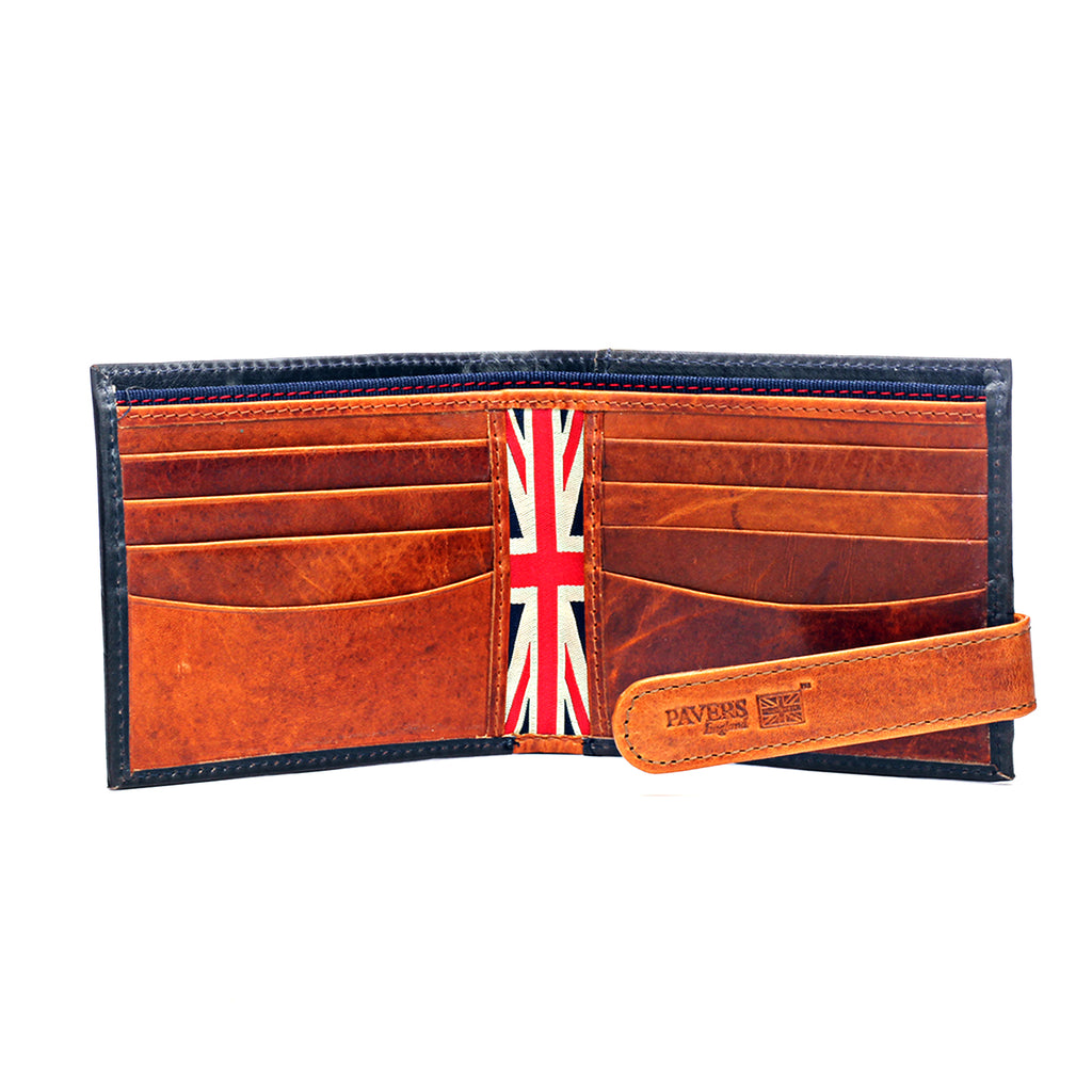 Textured Bi-fold Wallet for Men - Navy - Bags & Accessories - Pavers England