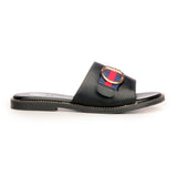 Solid Black Buckle Mules for Women - Black - Open Mules - Pavers England