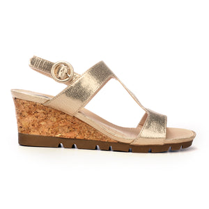 T-Strap Sandal Wedges for Women - Gold - Sandals - Pavers England