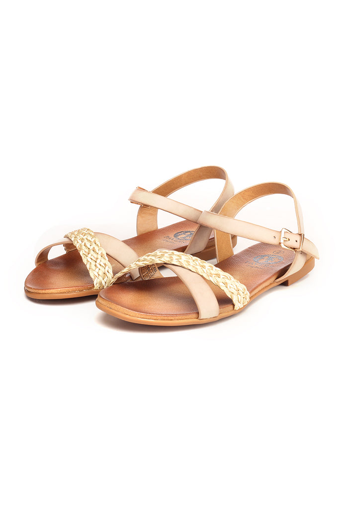 Woven Design Sandals for Women - Beige - Sandals - Pavers England