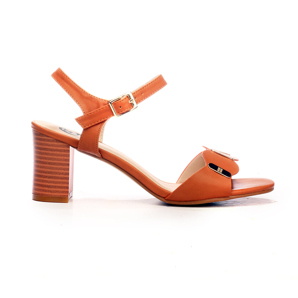 Ankle Strap Medium Heel Sandals for Women - Tan - Heels - Pavers England