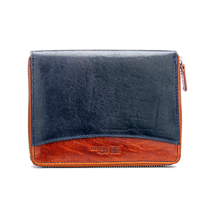 Brown Textured Passport Wallet-Navy