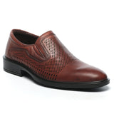 Low Heel Leather Slip-ons-Brown - Formal Loafers - Pavers England