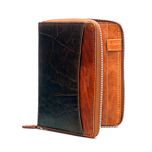 Brown Textured Passport Wallet-Brown