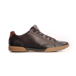 Low Top Leather Sneakers For Men-Brown - Sneakers - Pavers England