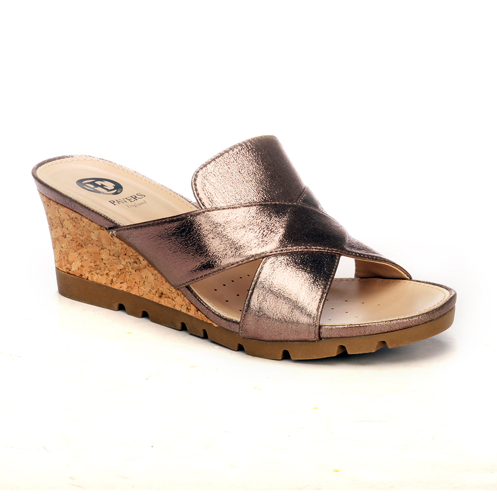 Elegant Mule Wedges for Women - Pewter - Open Mules - Pavers England