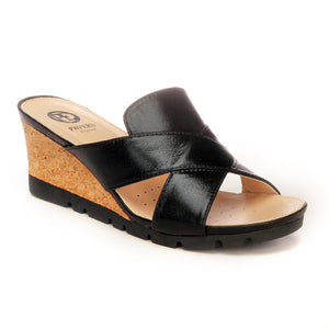 Elegant Mule Wedges for Women - Black - Open Mules - Pavers England