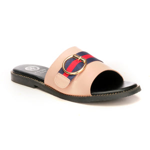 Solid Black Buckle Mules for Women - Pink - Open Mules - Pavers England