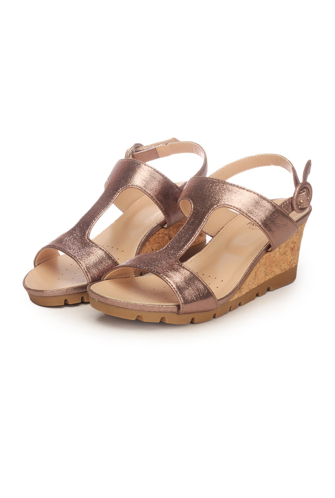 T-Strap Sandal Wedges for Women - Pewter - Sandals - Pavers England