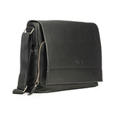 Multi Compartment Black Leather Satchel Bag-Black