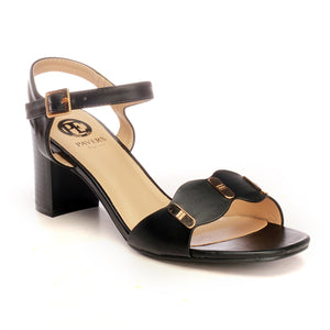 Ankle Strap Medium Heel Sandals for Women - Black - Heels - Pavers England