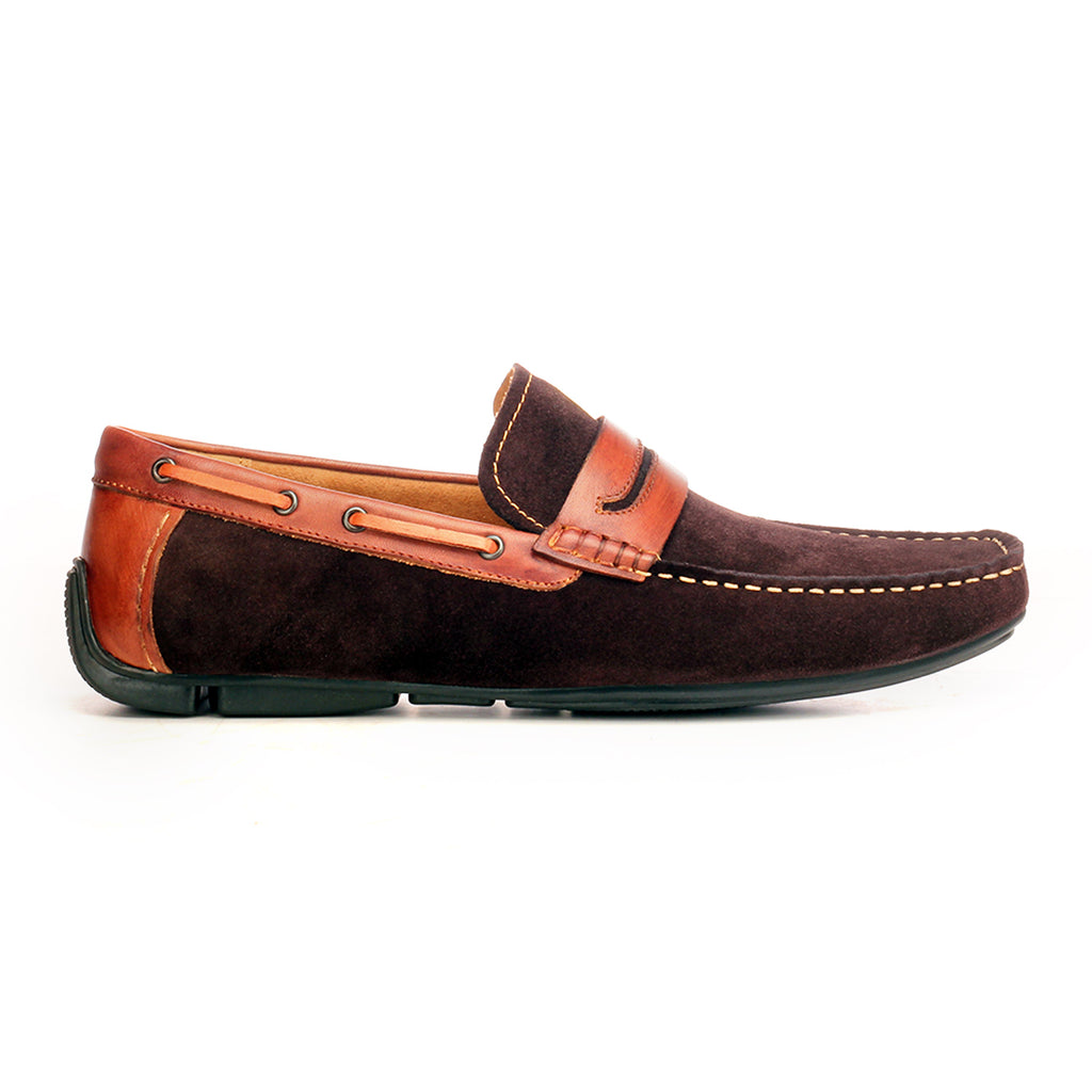 Suede Penny Loafers For Men - Brown - Moccasins - Pavers England