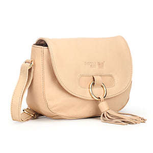 Leather Sling Bag with Tassels for Women-Beige - Sling Bags - Pavers England