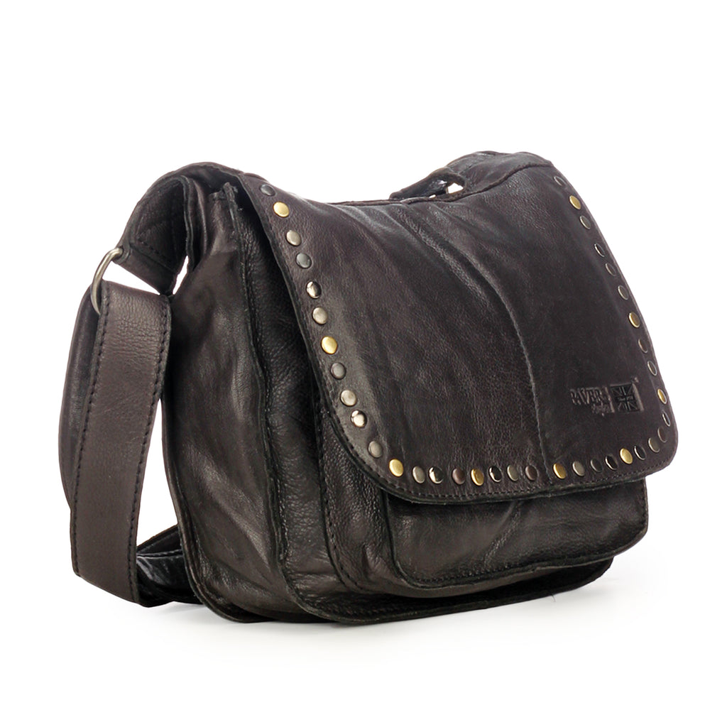 Leather Sling Bag for Women with Triple Compartments