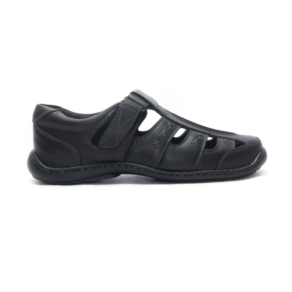 Men's Leather Sandals for Casual Wear-Black - Sandals - Pavers England