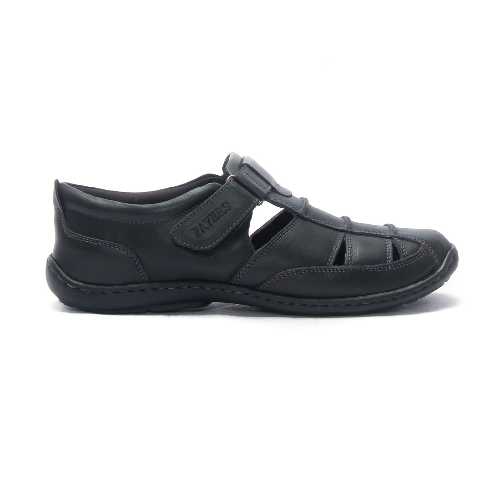 Men's Leather Sandals for Casual Wear - Black - Sandals - Pavers England