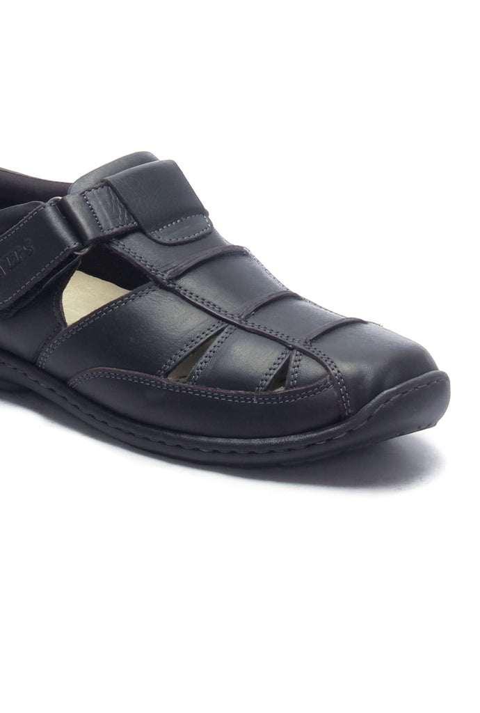Men's Leather Sandals for Casual Wear-Black
