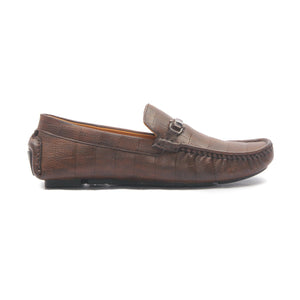 Men's Textured Bit Loafers-Brown - Slip ons - Pavers England