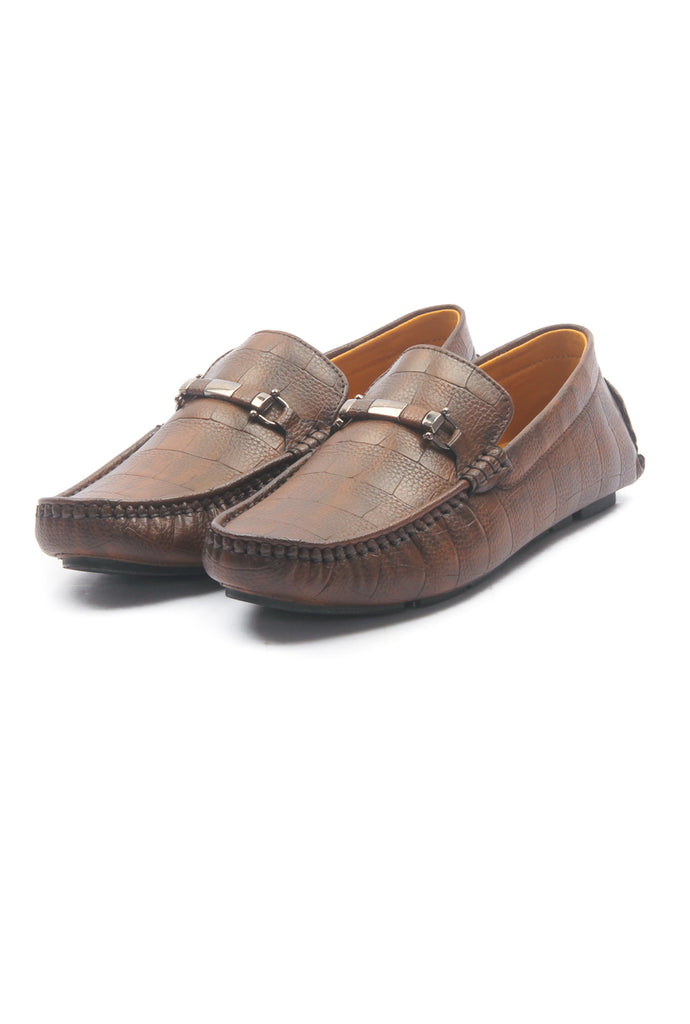 Men's Textured Bit Loafers - Brown - Moccasins - Pavers England