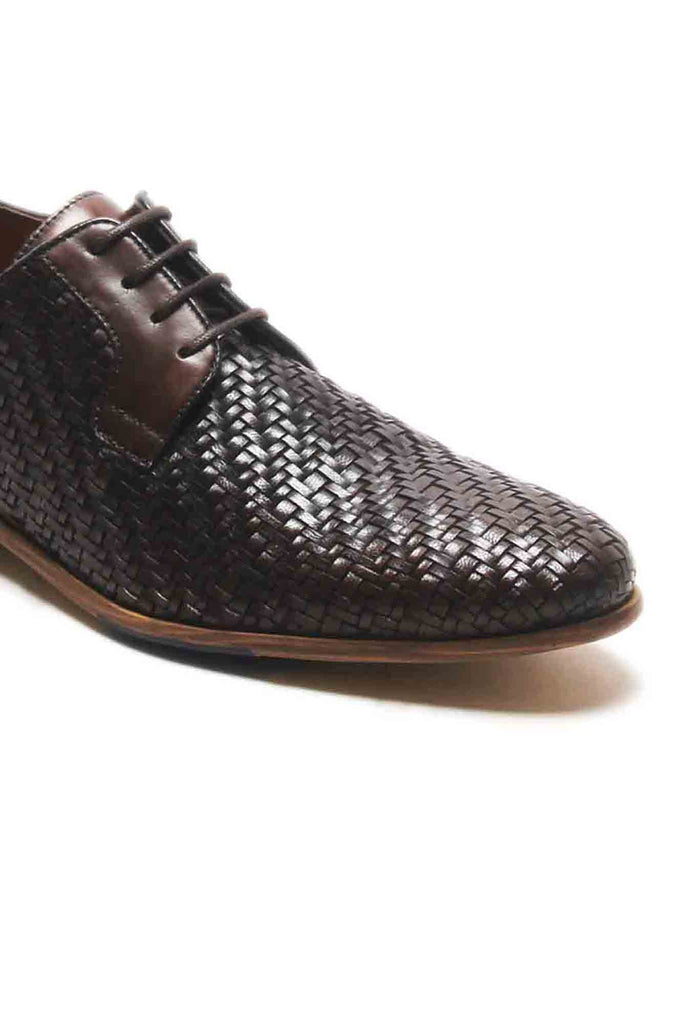 Logan Men's Basket Weaved Derby Shoes - Brown - Lace ups - Pavers England