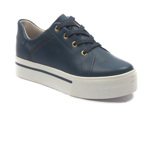Women's Leather Sneakers - Navy - Sneakers - Pavers England