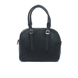 Textured black casual/formal totes for women
