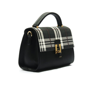 Smart and classy two toned casual handbag for women-Black Multi - Sling Bags - Pavers England