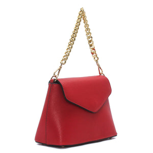 Smart solid red coloured handbag for women