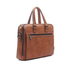 Classy briefcase bag for men-Tan - Laptop Bags - Pavers England