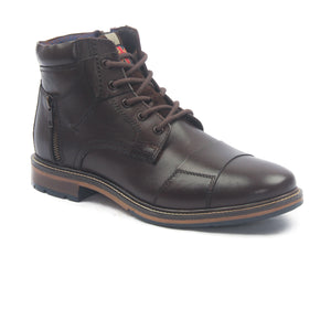Men's Leather Lace Up Boots-Brown - Ankleboots - Pavers England