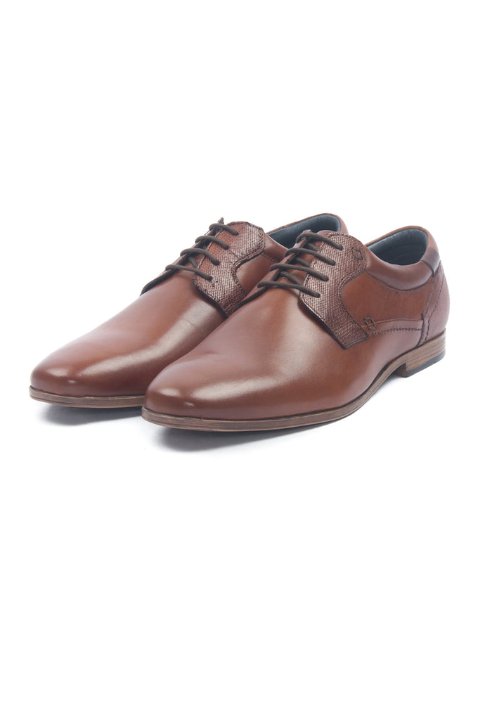 Men's Leather Lace Up Shoes - Tan - Laced Shoes - Pavers England
