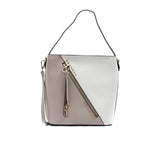 Women's Color Block Hobo Bag-Beige Multi - Bags & Accessories - Pavers England