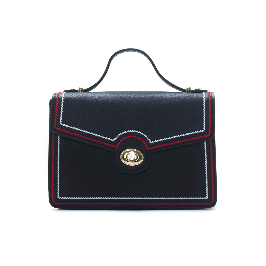 Women's Contrast Stitched Sling Bag-Black - Bags & Accessories - Pavers England