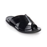 Men's leather toe-post with low heel