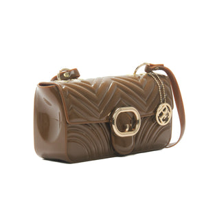 Women's Patent Finish Sling Bag-Brown - Sling Bags - Pavers England