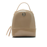 Women's Patent Finish Backpack-Beige - Women's Backpacks - Pavers England