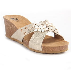 Textured Mule Wedges for Women-Gold - Pavers England