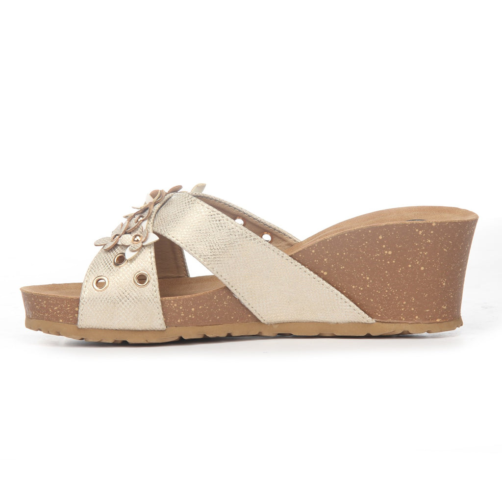 Textured Mule Wedges for Women-Gold - Mules - Pavers England