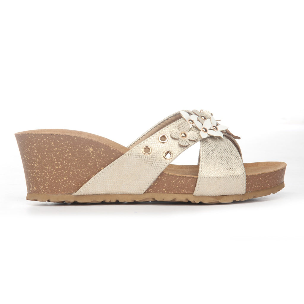 Textured Mule Wedges for Women-Gold - Open Mules - Pavers England