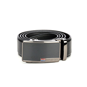 Black Textured Leather Belt for Men - Belts - Pavers England