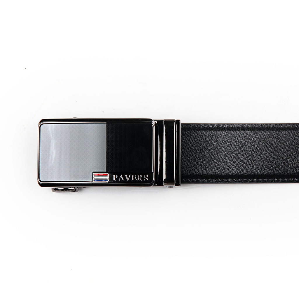 Textured Leather Belt for Men - Black - Bags & Accessories - Pavers England