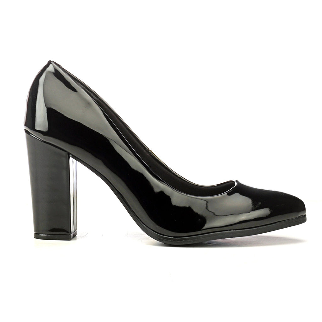 Black Pumps with Block Heels - Formal shoe - Pavers England